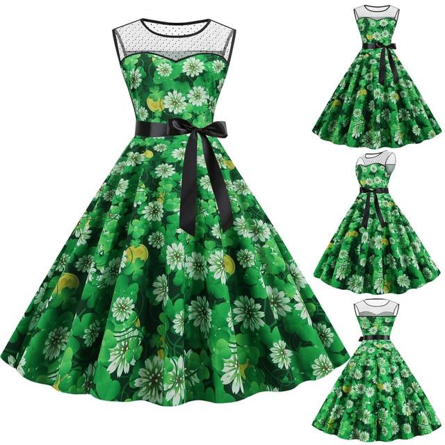 St. Patrick's Day Dress Women Saint Patrick Parades Irish Shamrock Retro Dress Lucky Four Leaf Clover Print Alfalfa Party Dress 1