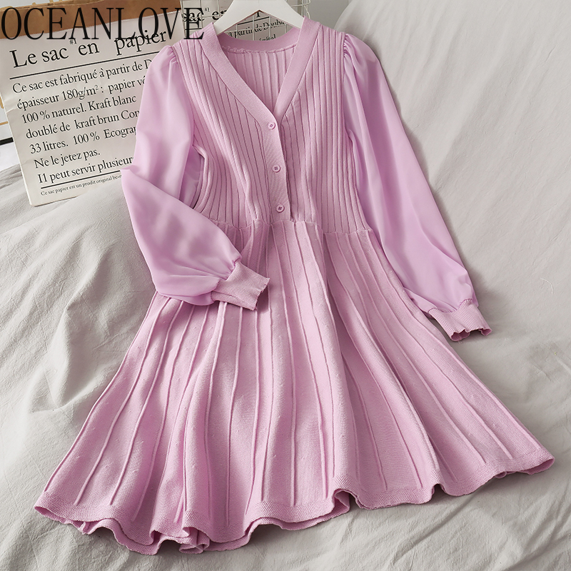 OCEANLOVE Knitted Spring Solid Women Dress A-line 2020 V Neck Puff Sleeve Midi Dresses 2020 Elegant OL Fashion Vestidos 15904