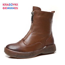 Krasovki Genuine High Quality Soft Genuine Leather Boots Zip For Women Autumn Winter Plush Fur Warm ladies Shoes Platform(China)