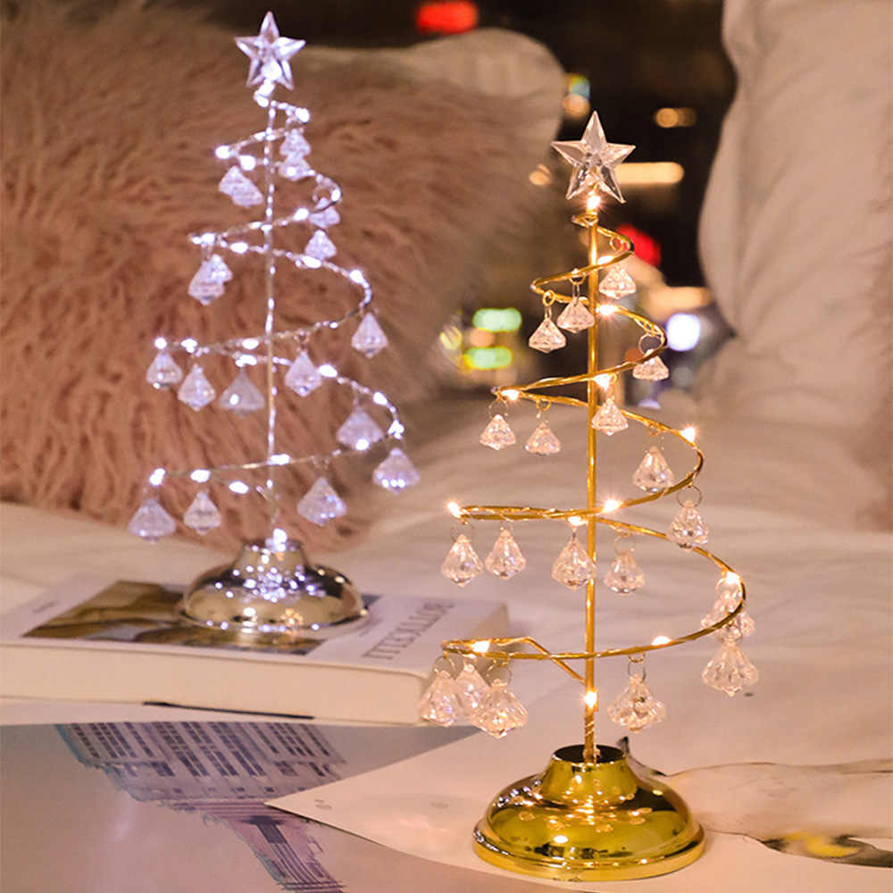 Crystal Christmas Tree Led Lights Indoor Decoration Fairy Lights Bedroom String Lights for Girlfriend Kids Baby Gift New Year