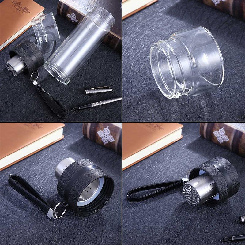 Garrafas de água de vidro com infusor, garrafa portátil de 500ml para água, chá de jantar e parede dupla, st195