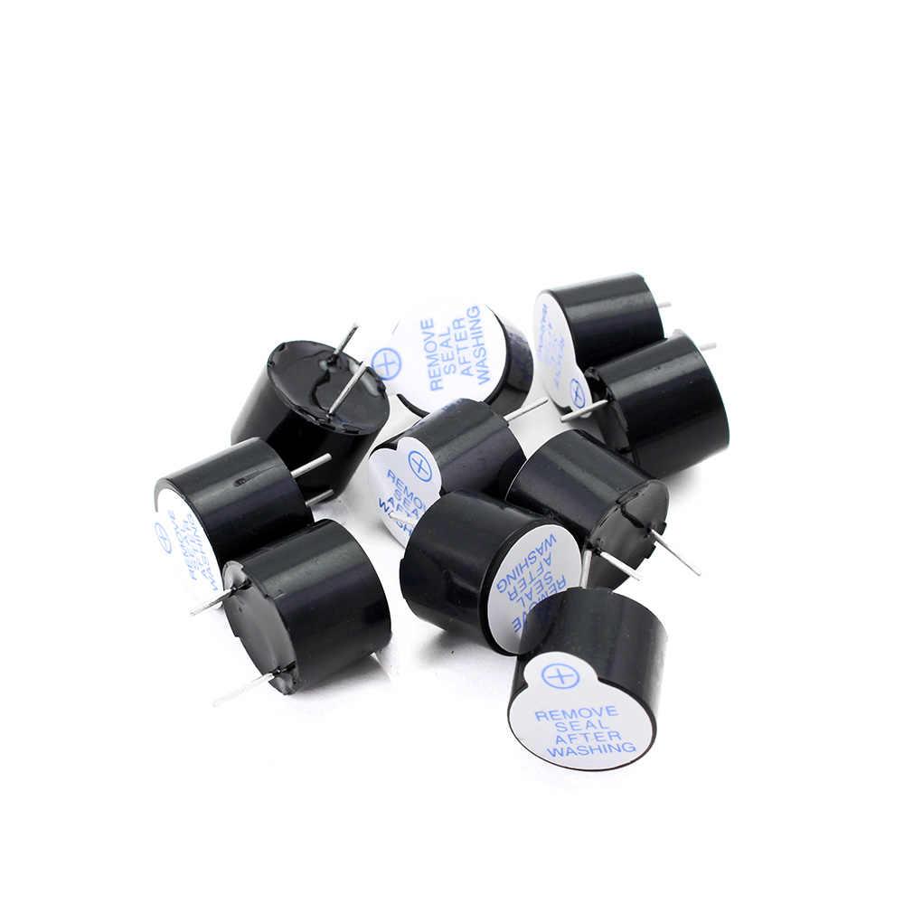 10 ピース/セット 5 5vアクティブブザーキット磁気ロング連続ビープ音アラームリンガー 12 ミリメートルミニアクティブ圧電ブザーフィットarduinoのdiy