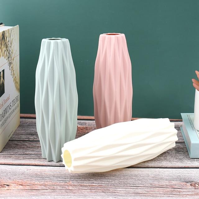 Flower Vase White Imitation Ceramic Flower Pot Decoration Home Plastic Vase 3