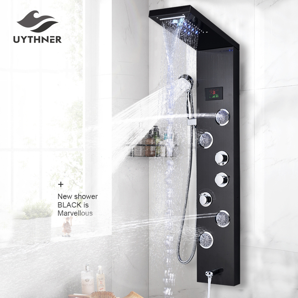 He0791ce44c5c48af80b31bddd7fc3b44v Newly Luxury Black/Brushed Bathroom Shower Faucet LED Shower Panel Column Bathtub Mixer Tap With Hand Shower Temperature Screen