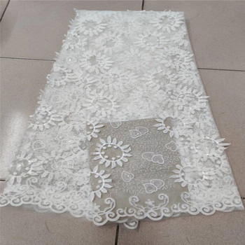Pure white New Designs African sequins Lace Fabric High Quality Lace Material French Embroidered Tulle Lace Fabric With Sequins