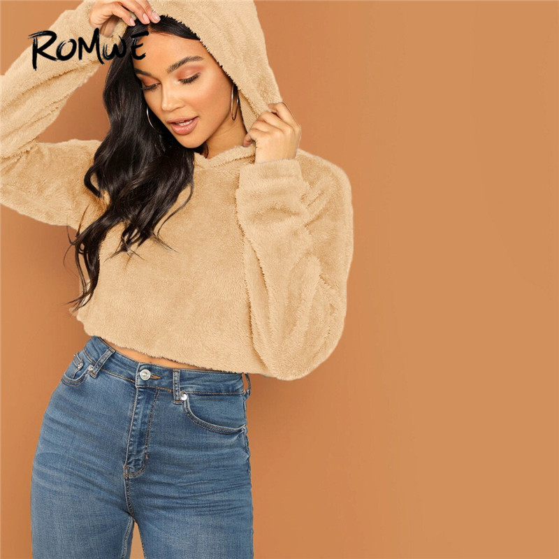 ROMWE Drop Shoulder Solid Teddy Hoodies Women Fall Clothing 2019 Casual Cropped Hoodie Sweatshirts Ladies Winter Crop Top