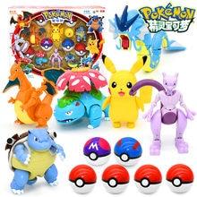 Pokemon deformação pokeball figuras brinquedos transformar pikachu charizard squirtle figura de ação modelo bonecas crianças presentes de natal