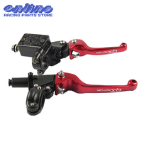 Red QXMOTOR Logo CNC Folding Brake Lever ASV Clutch Lever With Front Pump Fit CRF KLX YZF RMZ Motorcycle Dirt Bike Motocross