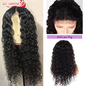 4X4 Remy Hair Lace Closure Wig Water Wave Human Hair Wig With Lace Closure Pervian Hair Wig Ali Lumina