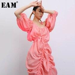 [EAM] Women Pleated Stitch Asymmetrical Big Size Dress New V-Neck Half Sleeve Loose Fit Fashion Tide Spring Summer 2020 1T917