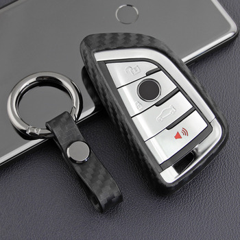 Carbon Fiber Color Car Key Case for BMW X1 X2 X3 X5 X5M F15 F85 X6 X6M Fob Shell Protecor image