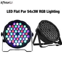 2 sztuk/partia LED płaskie Par 54x3W RGB kolor oświetlenie jasne kontroler DMX Strobe dla domu taniec piętro DJ Bar etap efekty świetlne