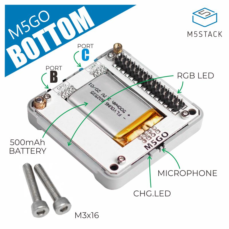Parte inferior magnética USB-C m5go do jogo esp32 da bateria de m5stack/parte inferior da bateria do fogo com 500mah mic/barra de neoflash iot
