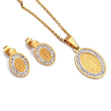 Stainless Steel Mother Virgin Mary Necklace & Earrings Set Gold Color Catholic Religious Jewelry Set Christmas Gift For Women(China)