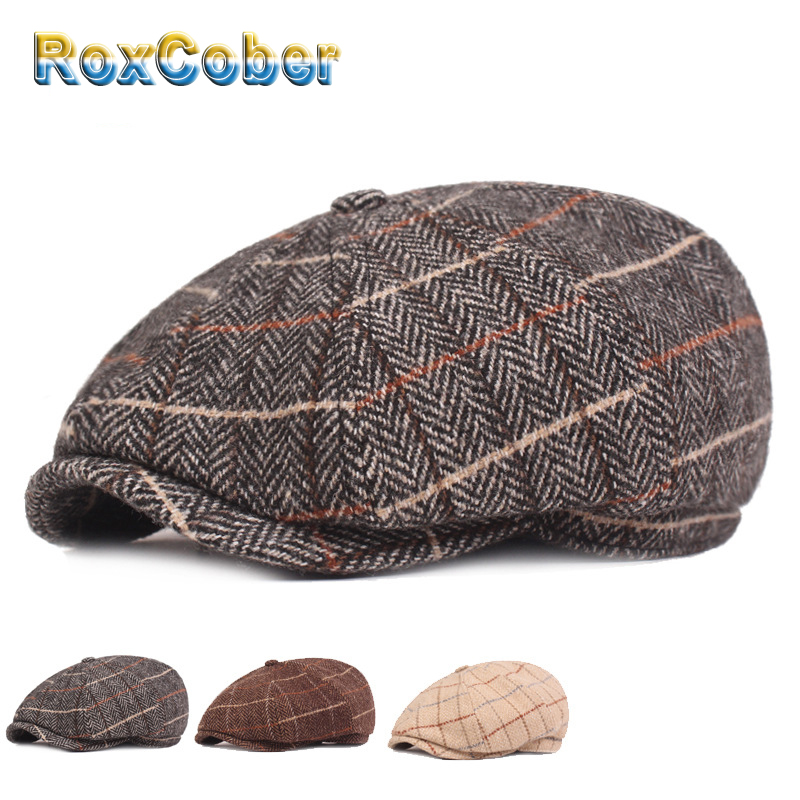 RoxCober  Autumn Winter Vintage Plaid Beret Hats Cotton Wool Octagonal Cap For Men Detective Painter Hats Flat Caps Newsboy Cap