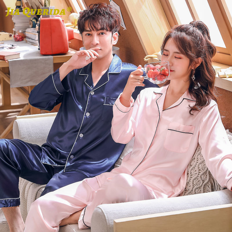 New Casual Style Men And Women Homesuit Homeclothes Couple Turn Down Collar Pajamas Set Long Sleeve Long Pants Fashion Style