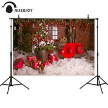 цены Allenjoy photophone backdrop Christmas winter snow wood house door gifts child photo background photography photocall photobooth
