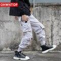 OHWNTOP Mulit-Pockets Cargo Joggers Jeans Color Block Patchwork Denim Pants Streetweat Hip Hop Men Harajuku Casual Trousers 2021