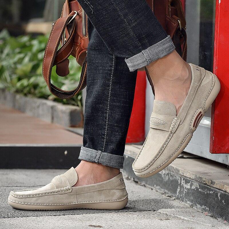 Лоферы мужские из коровьей замши, Повседневная Уличная мягкая удобная обувь без застежки, классические модные туфли на плоской подошве в ст...