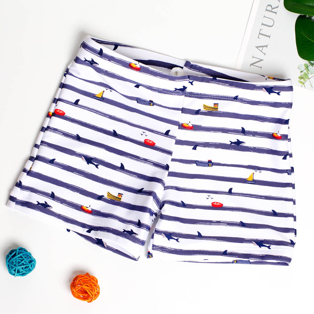 2019 Swim Trunks For Boys 5-12y Summer Beach Shorts Printed Cartoon Stripe/Shark Swimming Trunks Kids Boys Bathing Suit ST012