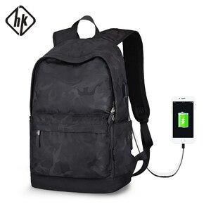Image 1 - Рюкзак Hk мужской с USB портом для ноутбука 15 дюймов, маленький школьный ранец из ткани Оксфорд, удобный Молодежный дорожный портфель на плечо для мужчин и женщин