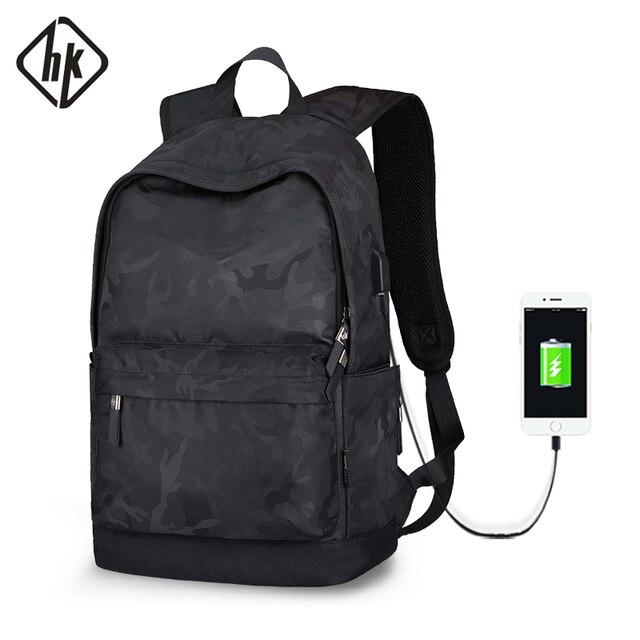 Рюкзак Hk мужской с USB портом для ноутбука 15 дюймов, маленький школьный ранец из ткани Оксфорд, удобный Молодежный дорожный портфель на плечо для мужчин и женщин