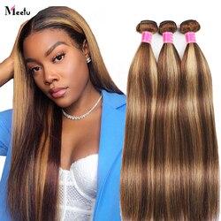 Meetu mettre en évidence paquets brésilien droite cheveux humains paquets Ombre brun cheveux raides paquets 3 paquets Remy cheveux humains