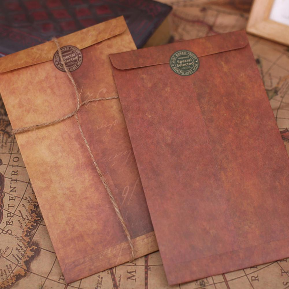 VIVIDCRAFT 1pcs Vintage Envelope Creative Kraft Paper Envelopes Diy Decorative Envelope Small Paper School Office Supplies