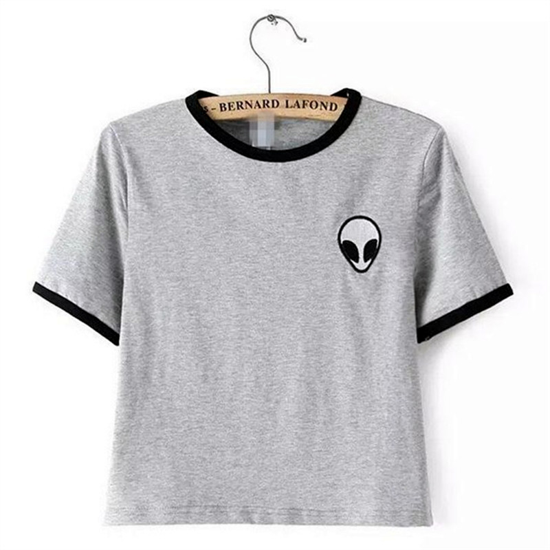 Sondirane New Fashion Short Sleeve Gray Women T Shirts Print Alien Striped Funny Female T-shirt Harajuku Hip Hop Tops Streetwear