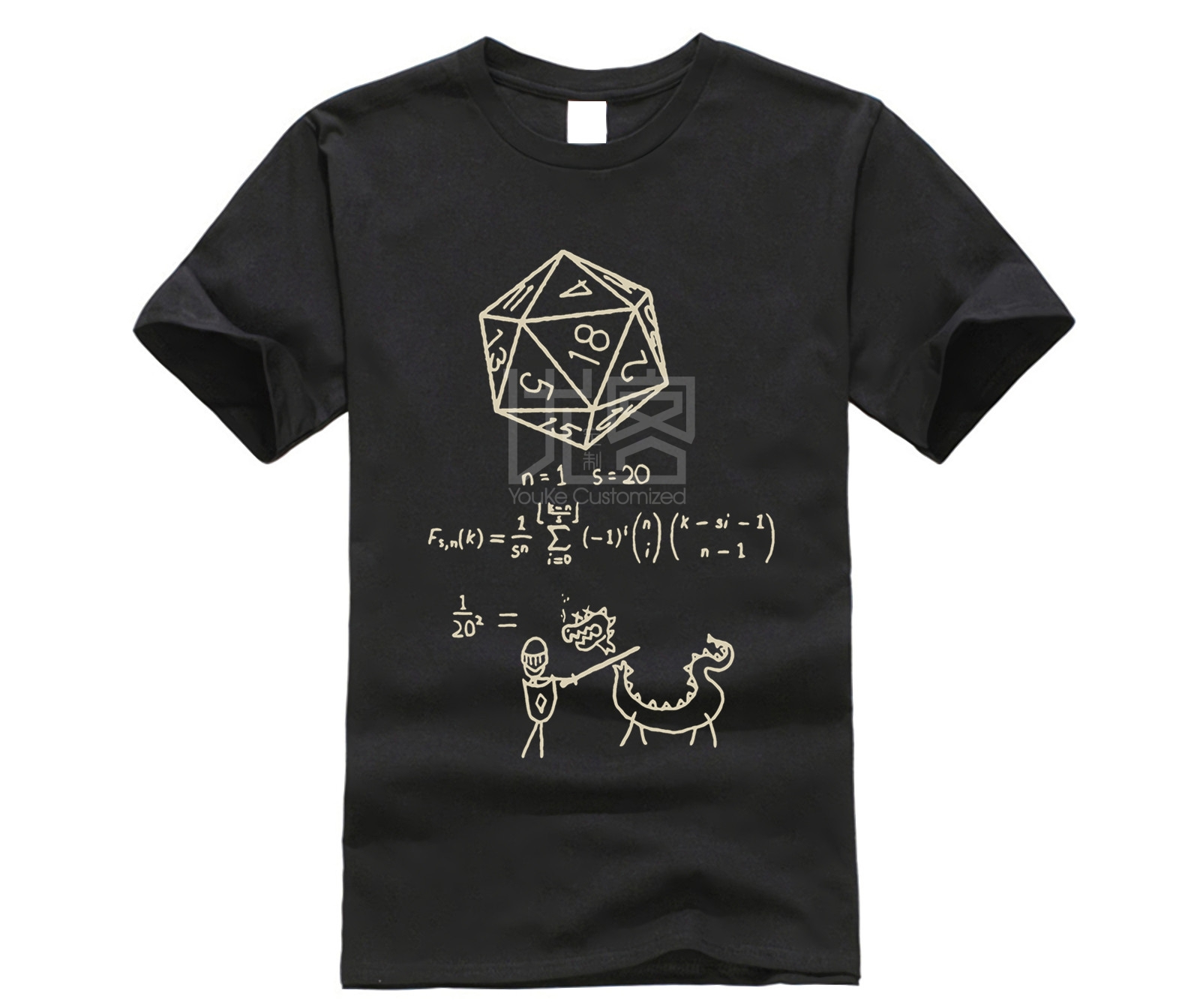 The Science Of 20 Sided Dice T Shirt Men D20 Math DnD Dungeons And Dragons Clothes Popular T-Shirt Crewneck 100% Cotton Tees