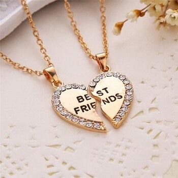 Unisex 2 Pcs BFF Necklace Women Crystal Heart Pendant Best Friend Letter Necklace Fashion Couple Necklace Men Friendship Jewelry 2