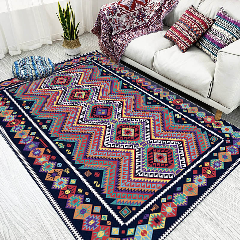 Multicolor Color Lattice Wave Bohemian Ethnic Wind Door Mat Bedroom Living Room Bedside Carpet Mat  Area Rug For Living Room