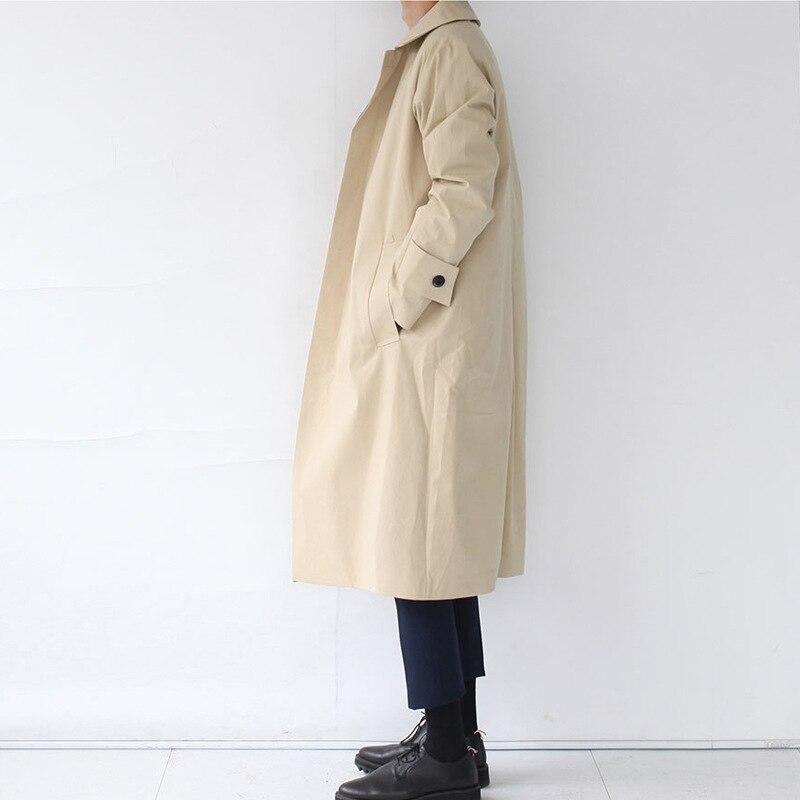 Модная дизайнерская Длинная ветровка на осень и зиму, однобортное ветрозащитное пальто размера плюс, мужской Тренч в японском стиле - 4