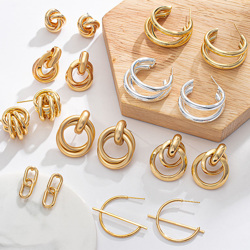Gold Big hoop Earrings Korean Geometry Metal Earrings For women Female Vintage Drop Earrings Pendants 2021 Trend Fashion Jewelry