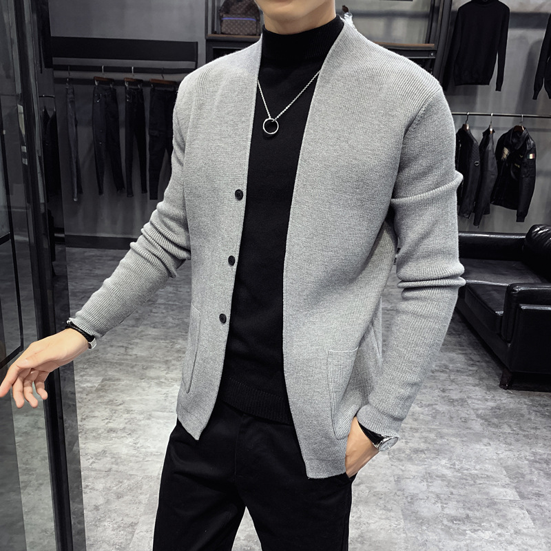 2020 Autumn & Winter New Arrival Sweater Cardigan Men's New Loose Casual Long Knit Shirt Men's Solid Color Sweater Free Shipping