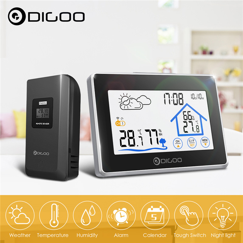 Digoo Touch-Screen Clock-Meter Sensor Weather-Station Forecast DG-TH8380 Outdoor Wireless