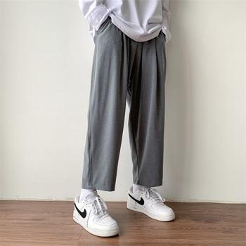 2020 męskie luźne spodnie rekreacyjne Straigt spodnie w stylu zachodnim spodnie na co dzień wzór biznesowy bawełna formalne spodnie czarny szary garnitur tanie i dobre opinie Uyuk A310-KZ02-P55 COTTON Z wełny Plisowana Przycisk fly