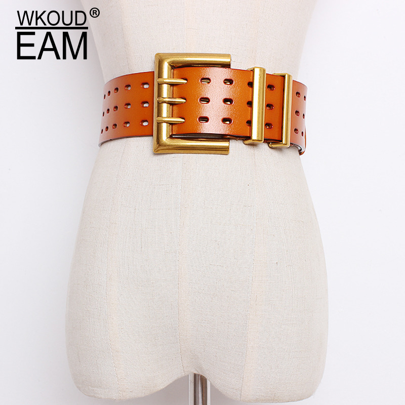 WKOUD EAM 2020 New Genuine Leather Belt Female Vintage Metal Buckle Wide Leather Waistband Women Designer Brand Belt Lady PE153