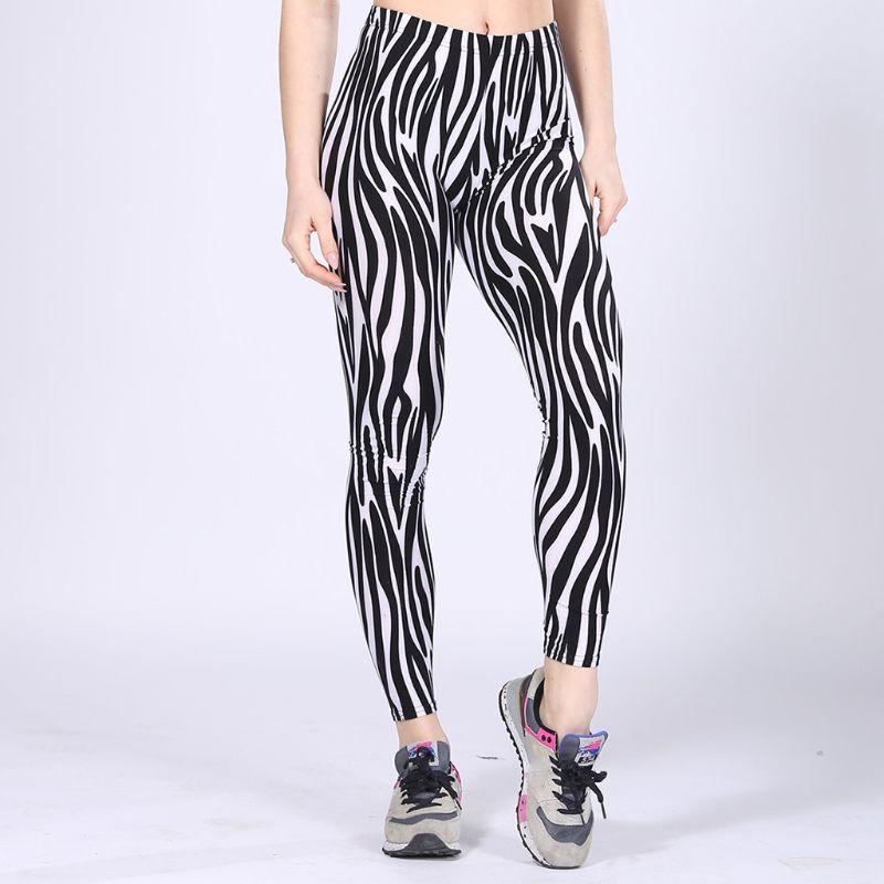 Womens Mid Rise Milk Fiber Ankle Length Leggings Black White Zebra Stripes Stretchy Workout Sports Pencil Pants
