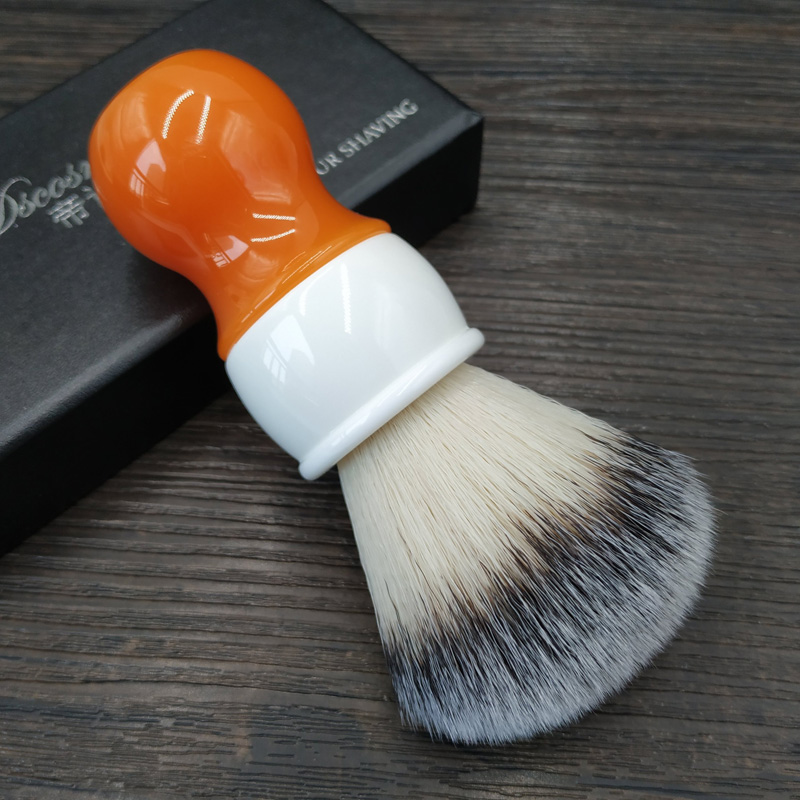 DS 26mm Carrot Synthetic Hair Knot Shaving Brush With Double Color Resin Handle