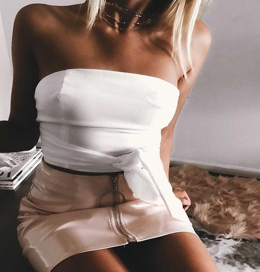 מכירה לוהטת Harajuku חצאית נשים של מקרית גבוהה מותן עור אונליין חצאית גברת סקסית Slim Bodycon עיפרון מיקרו חצאיות קוריאני חצאיות