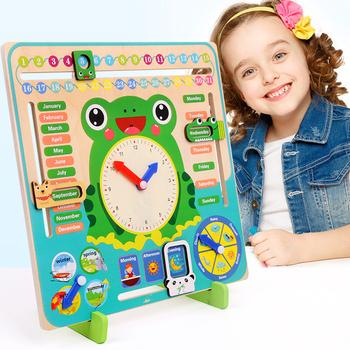 Drewniane zabawki Montessori Baby pogoda sezon zegar z kalendarzem czas poznanie przedszkole edukacyjne pomoce nauczycielskie zabawki dla dzieci tanie i dobre opinie 8 ~ 13 Lat 2-4 lata 5-7 lat Certyfikat europejski (CE) Zwierzęta i Natura