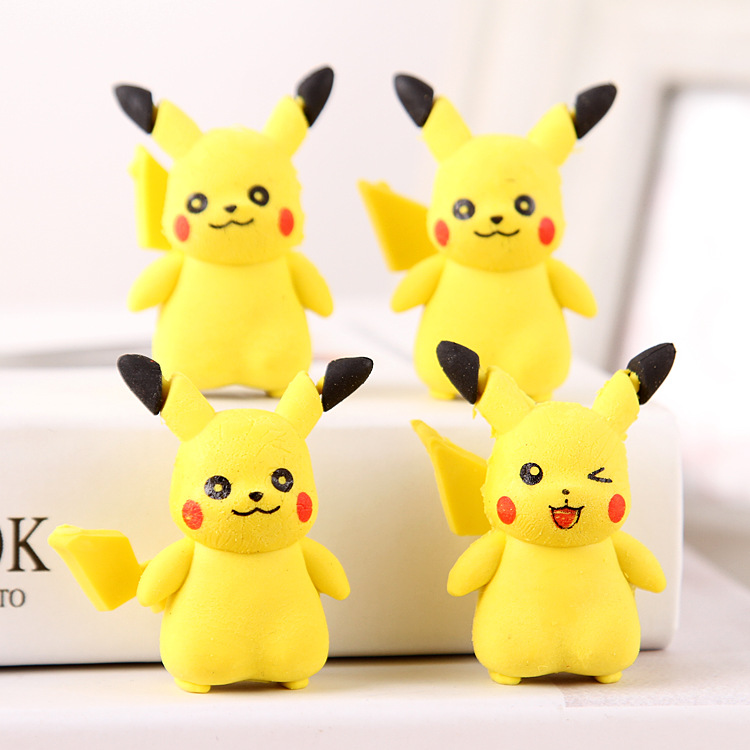 Cartoon Pikachu Erasers Cute Elf Writing Drawing Rubber Pencil Eraser Stationery For Kids Gifts School Supplies