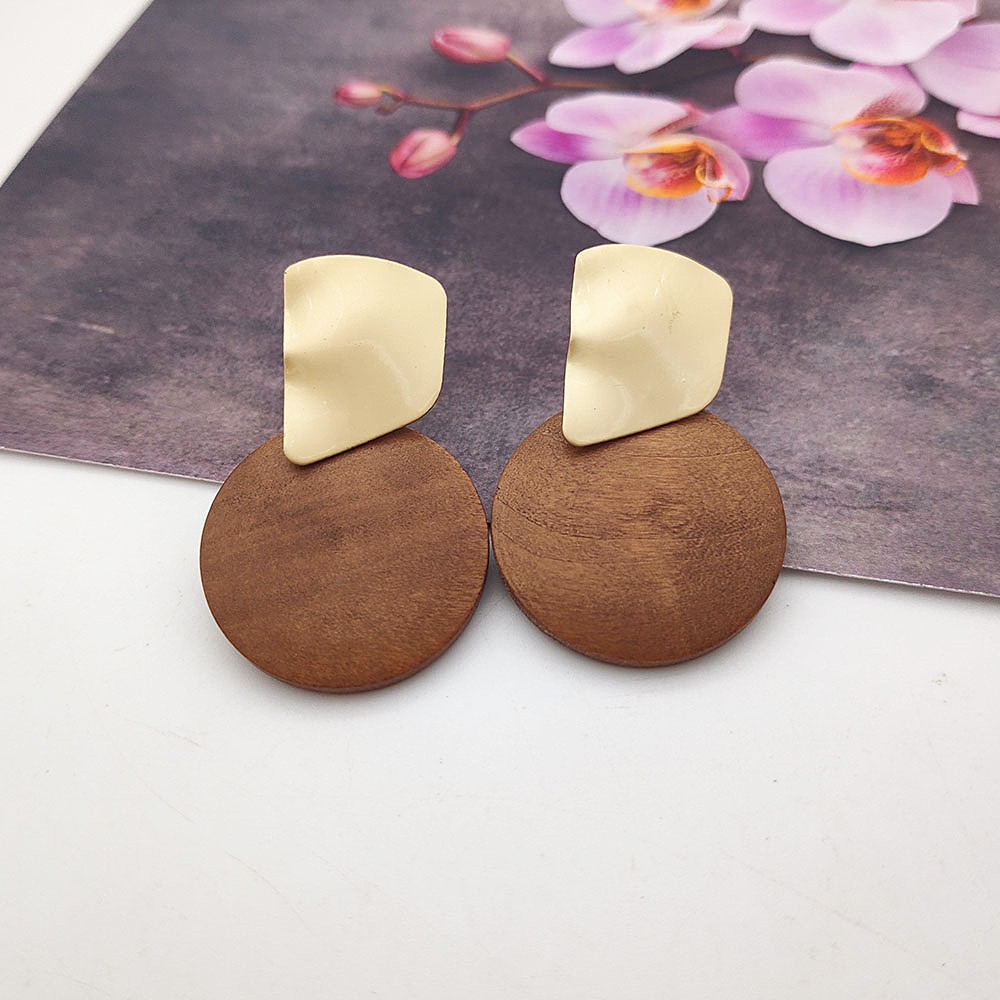 2019 Fashion Charm Jewelry Round Wood Pendant Earrings Metal Matte Geometric Earrings Gold Earrings for Women W756-W763