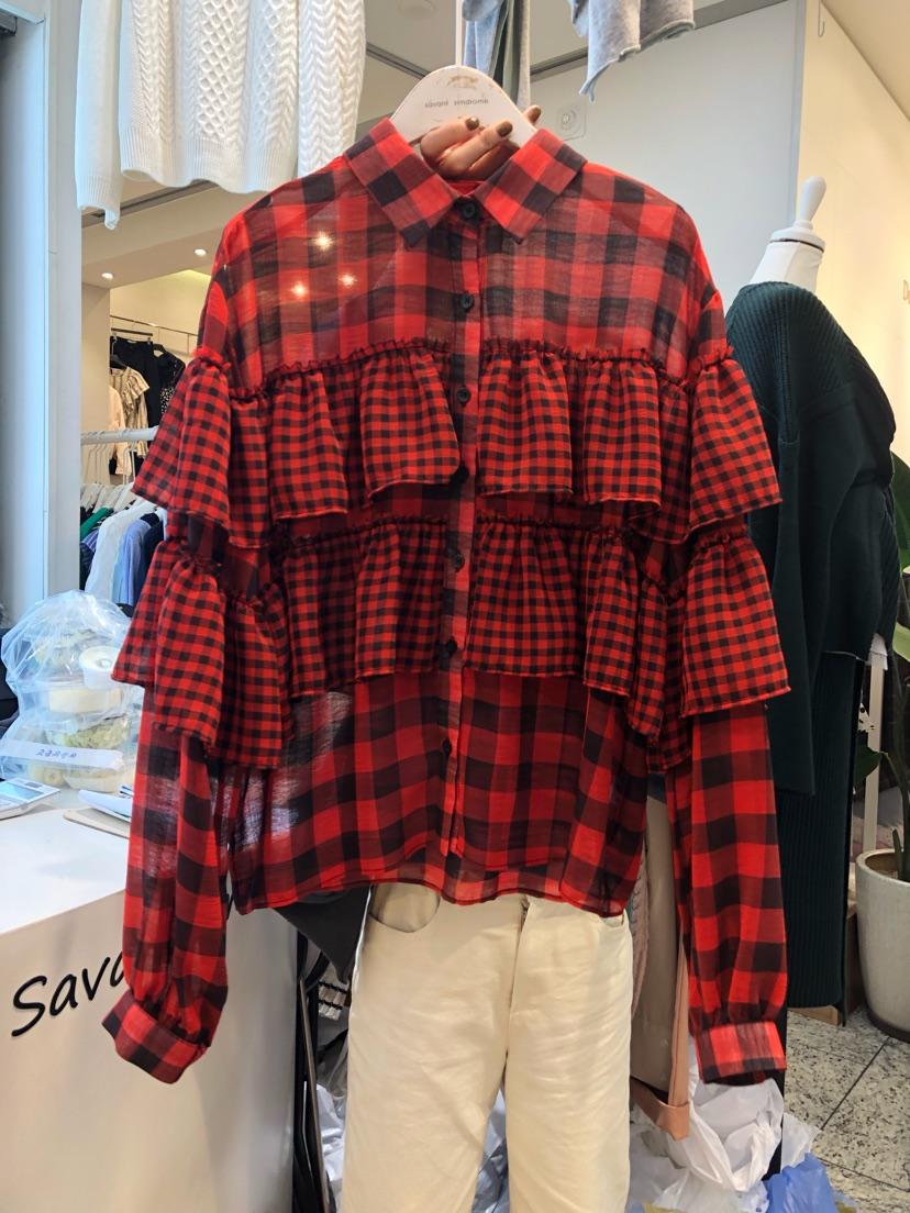 2020 Hitz Fashion Online Red Plaid Long-sleeved Shirt Flounced Stitching Wild Sweet Shirt Female Students