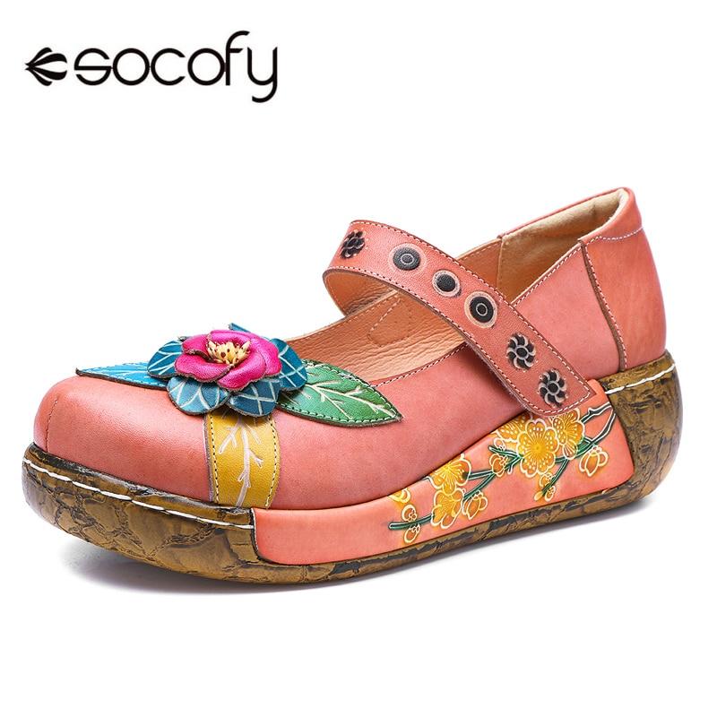 Socofy Bohemian Vintage Style Women Flat Shoes Retro Genuine Leather Spring Summer Casual Platform Women Shoes Hook&Loop Flats