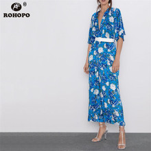 ROHOPO Women Autumn Floral Bule Tunic Jumpsuit V Collar Loose Holiday Romper #9307