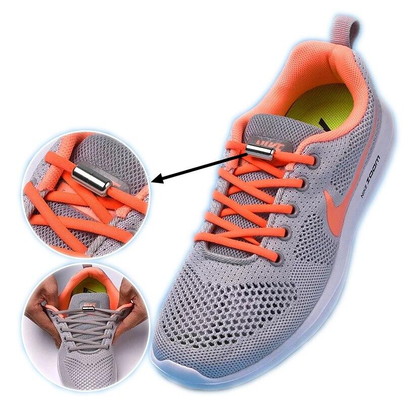 1Pair Elastic Locking Shoelaces Semicircle Shoelace Sneakers Shoe Laces Quick No Tie Shoelace Kids Adult Shoes Lace 19colors