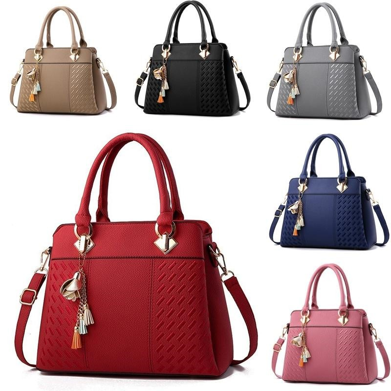 PU Leather Embroidery Women Handbags Totes Bag Fashion Top-handle Crossbody Shoulder Bags Handle Tassel Messenger Bag