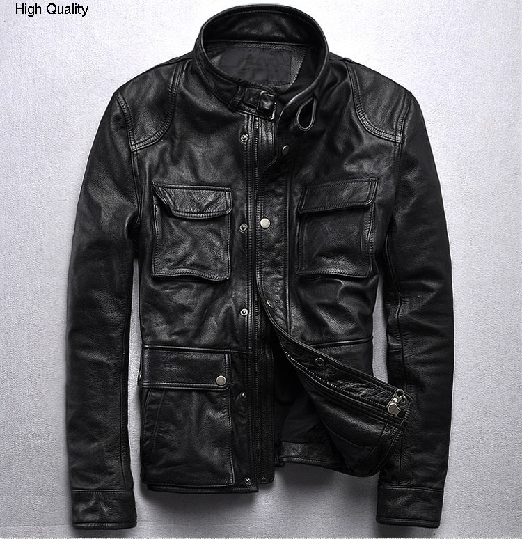 Men's Genuine Leather Jacket Youth Style Cowhide Locomotive Short Coat Stand Collar Slim Autumn Winter Clothing Black